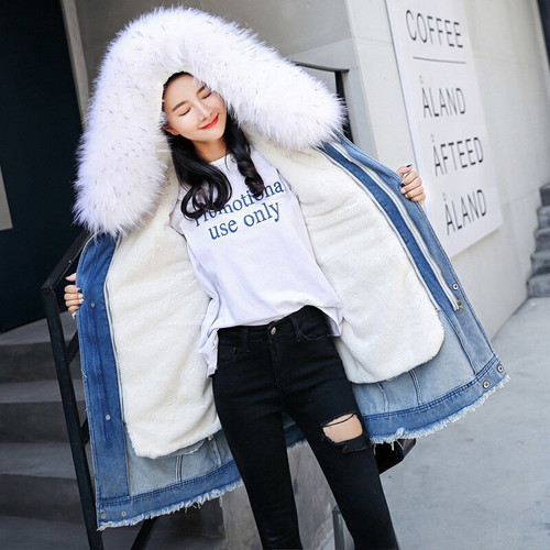 . Women Denim Parka 2019 fur jacket