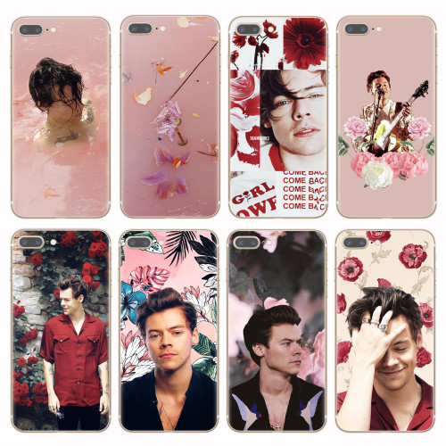 One Direction Harry Styles Pink Flowers Soft TPU Phone
