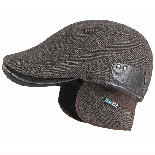 Ear Flap Dad Hat Beret Cap Men