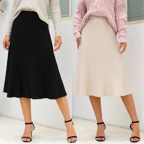 Long Elastic Skirt Black Apricot