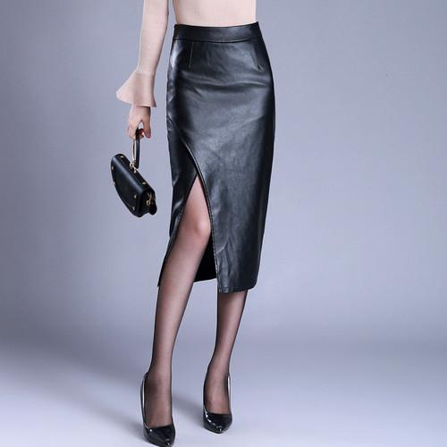 high waist was thin long skirt