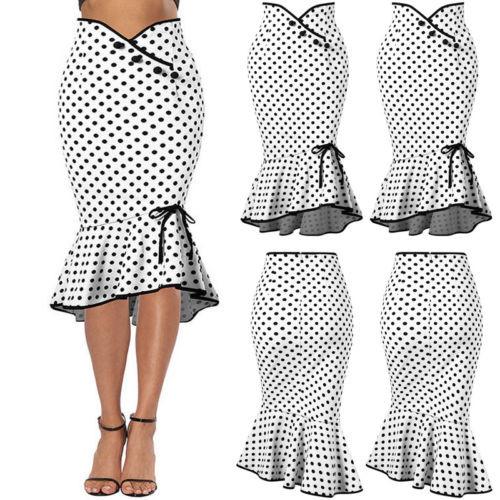 Mermaid Bodycon Dot Skirt