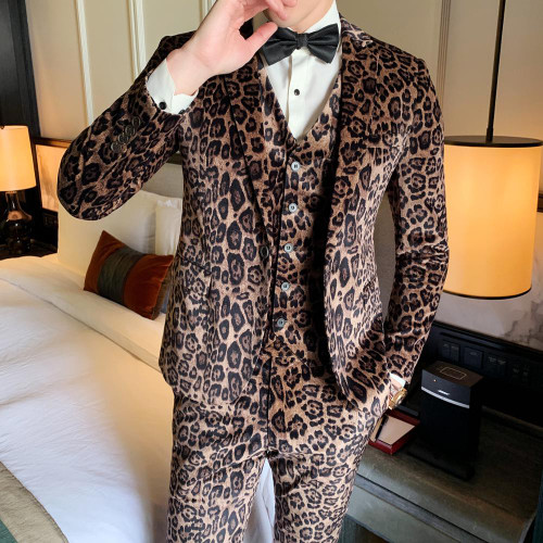 Mens Fashion Leopard Printed 3 Pieces Set
