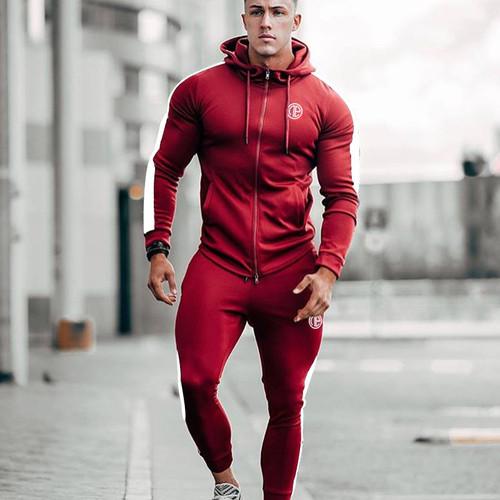 Spring Men Sport Suit Zip Up Hooded Jacket