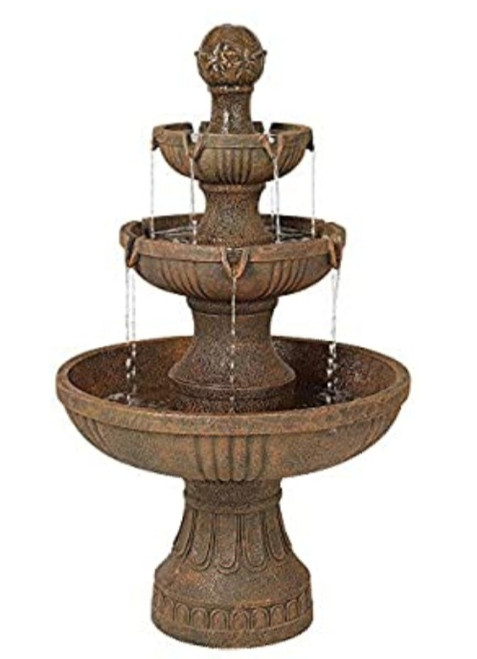 Brown three tier resin fountain