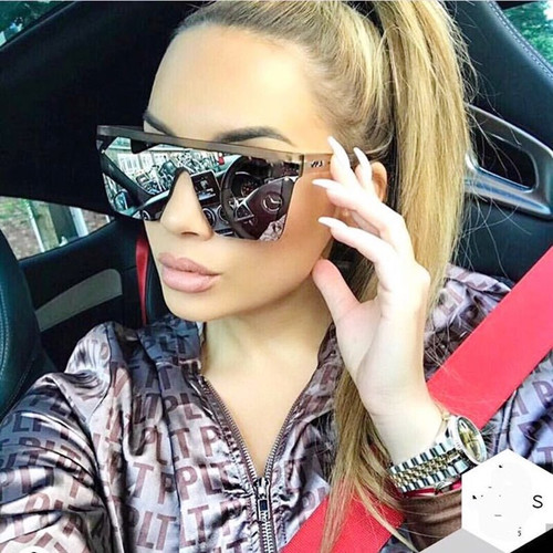 Oversized Sunglasses Women Big Frame Square Flat Top Sun Glasses For Men Vintage Mirror Shades for Women Glasses UV400