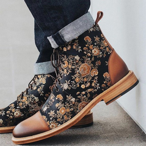 Winter Mens Booties Floral Print Ankle Boots