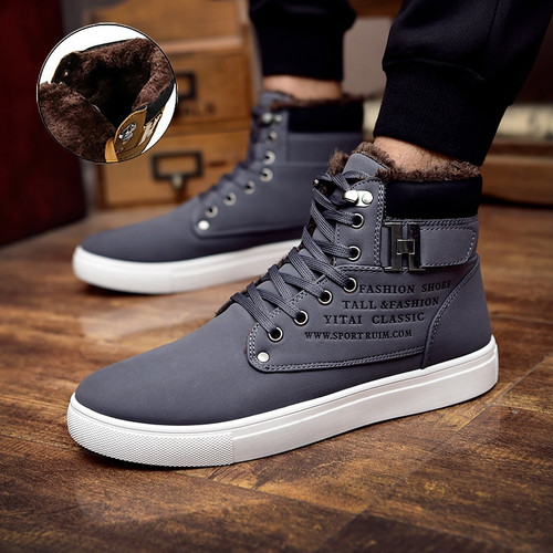 warm ankle shoes men plus size