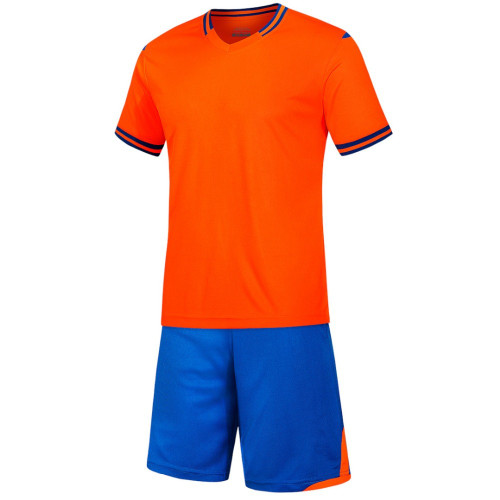 orange  Men short sleeve  soccer football suit