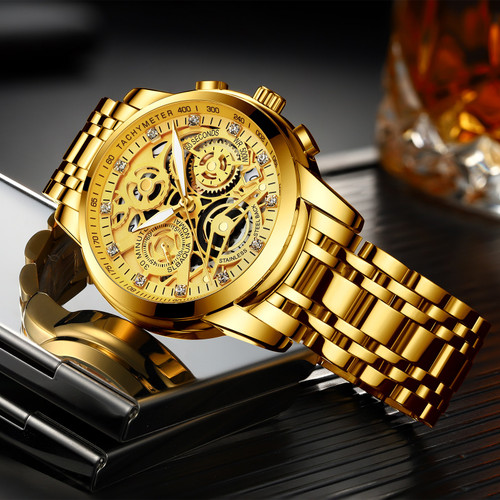 Mens Watch Gold Big