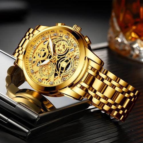 Mens Watch Gold Big