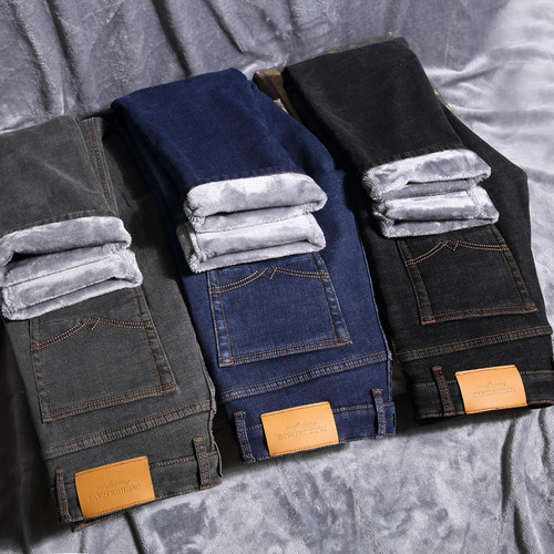 Winter Men's Warm Jeans