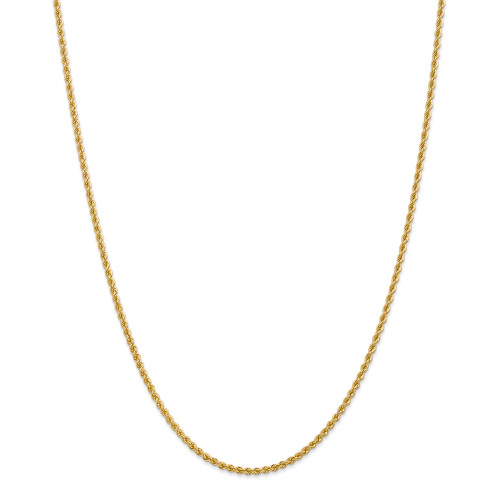 14K 2.25mm Regular Rope Chain: 11.87gm, 30in long, 2.25mm wide