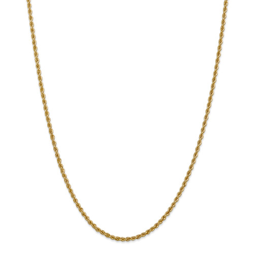 14K 2.5mm Regular Rope Chain: 10.97gm, 22in long, 2.5mm wide