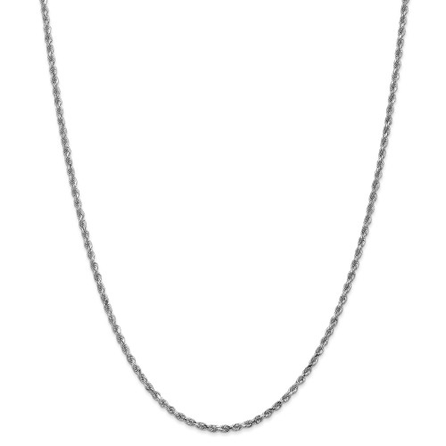 14K White Gold 2.25mm Diamond-Cut Rope with Lobster Clasp Chain: 11.22gm, 24in long, 2.25mm wide