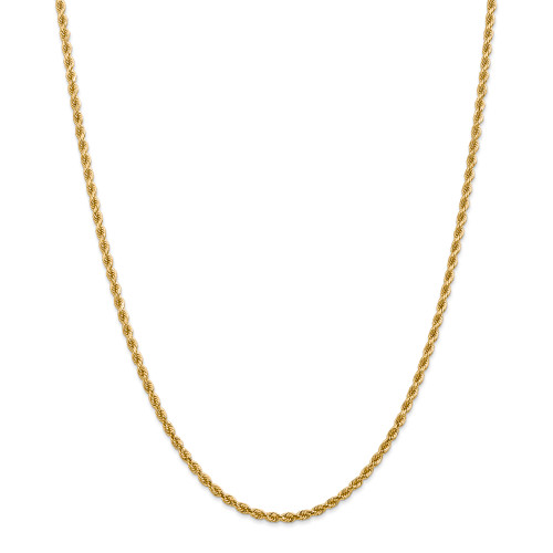 14K 2.75mm Diamond-cut Rope with Lobster Clasp Chain: 15.04gm, 22in long, 2.75mm wide