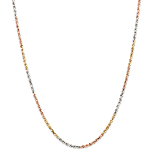 14K Tri-Color 2.9mm Diamond-Cut Rope Chain: 16.31gm, 24in long, 2.9mm wide