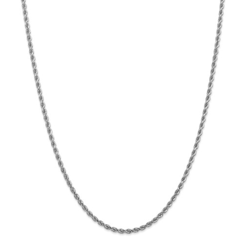 14K White Gold 2.75mm Diamond-Cut Rope with Lobster Clasp Chain: 15.55gm, 22in long, 2.75mm wide