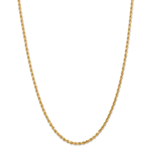 14K 3mm Diamond-Cut Rope with Lobster Clasp Chain: 24.39gm, 30in long, 3mm wide