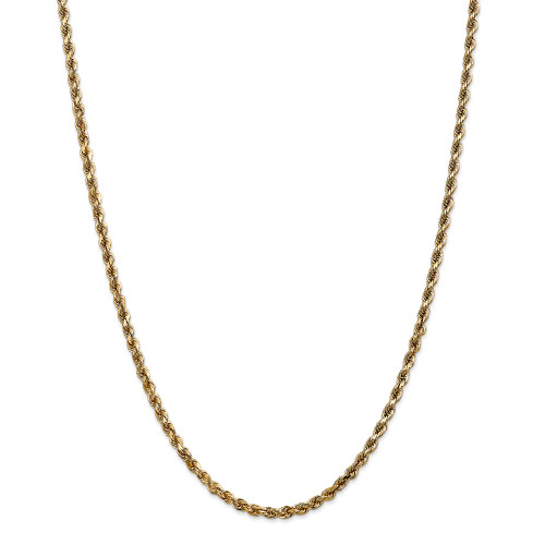 14K 3.5mm Diamond-Cut Rope with Lobster Clasp Chain: 23.70gm, 24in long, 3.5mm wide