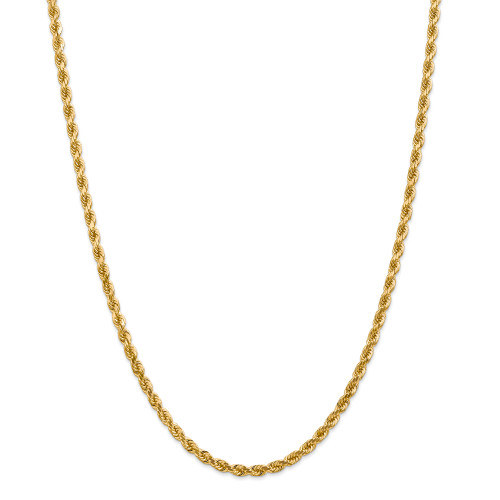 14K 4mm Diamond-Cut Rope with Lobster Clasp Chain: 28.73gm, 22in long, 4mm wide