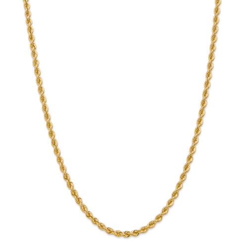14K 4mm Regular Rope Chain: 29.39gm, 22in long, 4mm wide