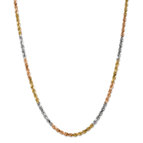 14K Tri-Color 4mm Diamond-Cut Rope Chain: 25.42gm, 20in long, 4mm wide