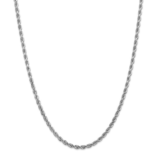 14K White Gold 4mm Diamond-Cut Rope with Lobster Clasp Chain: 31.55gm, 24in long, 4mm wide