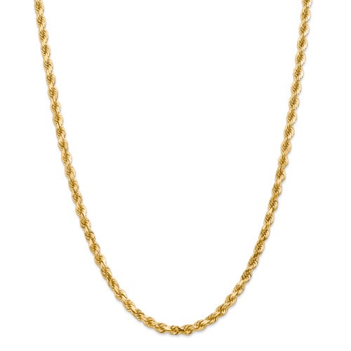 14K 4.5mm Diamond-Cut Rope with Lobster Clasp Chain: 45.10gm, 24in long, 4.5mm wide