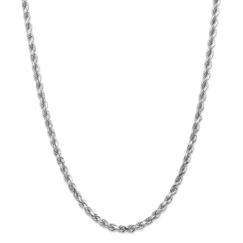 14K White Gold 4.5mm Diamond-Cut Rope with Lobster Clasp Chain: 55.60gm, 30in long, 4.5mm wide