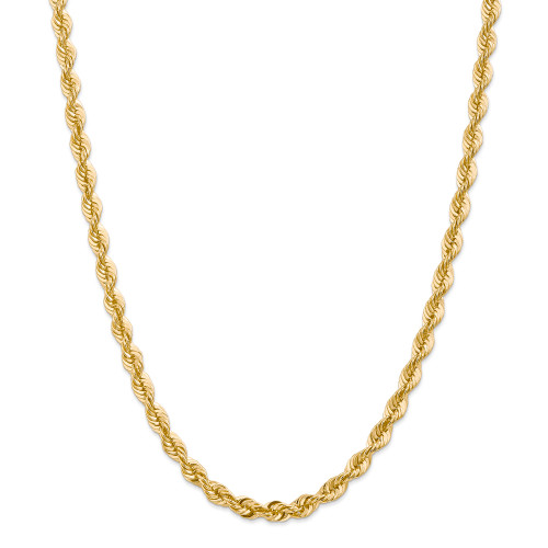 14K 6mm Regular Rope Chain: 74.83gm, 30in long, 6mm wide