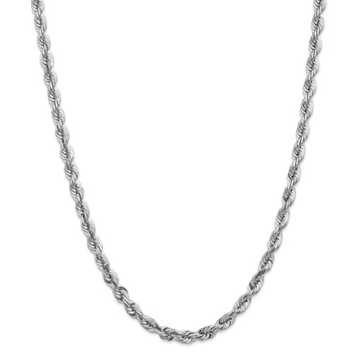 14K White Gold 5.5mm Diamond-Cut Rope with Lobster Clasp Chain: 51.03gm, 20in long, 5.5mm wide