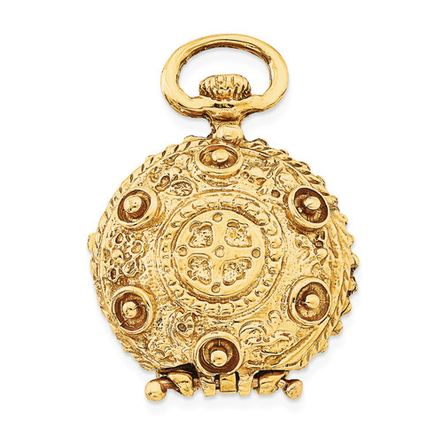 14K Fancy Domed Locket: 13.60gm, 30mm long, 20mm wide
