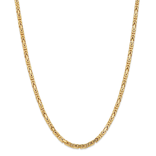14K 4mm Byzantine Chain: 67.61gm, 24in long, 4mm wide