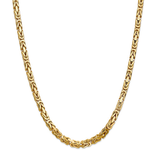 14K 5.25mm Byzantine Chain: 123.08gm, 24in long, 5.25mm wide