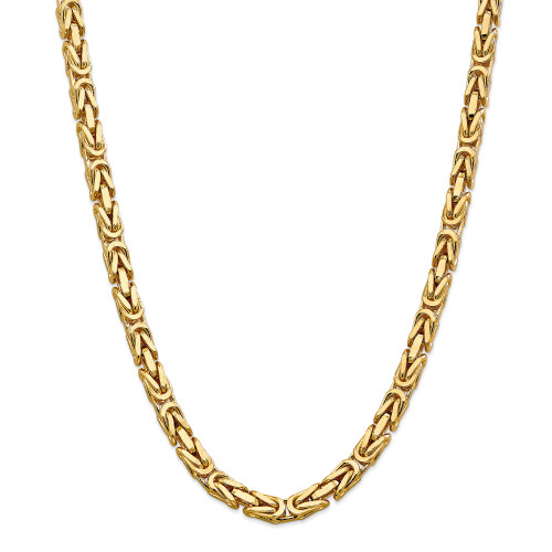 14K 6.5mm Byzantine Chain: 184.58gm, 24in long, 6.5mm wide