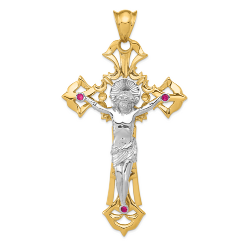 14K Two-tone Polished with Red CZs Crucifix Pendant: 33.52gm, 107mm long, 60mm wide