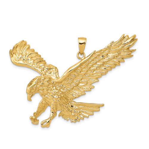 14K Solid Polished Eagle Pendant: 13.19gm, 39mm long, 49mm wide