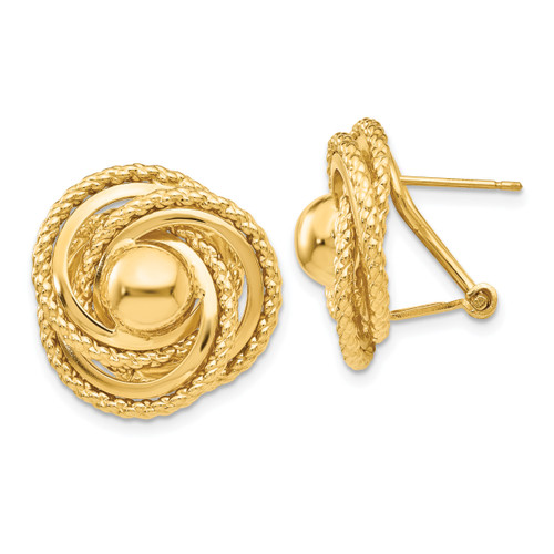 14K Polished & Twisted Fancy Omega Back Post Earrings: 5.84gm, 19mm long, 19mm wide