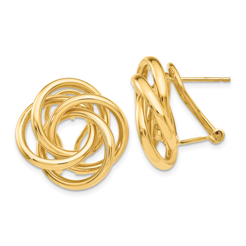 14K Love Knot Tube Earrings: 5.41gm, 21mm long, 21mm wide