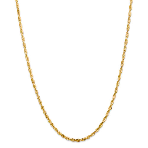 14K 4mm Extra-Light Diamond-Cut Rope Chain: 14.22gm, 20in long, 4mm wide