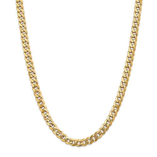 14K 8mm Flat Beveled Curb Chain: 58.05gm, 22in long, 8mm wide