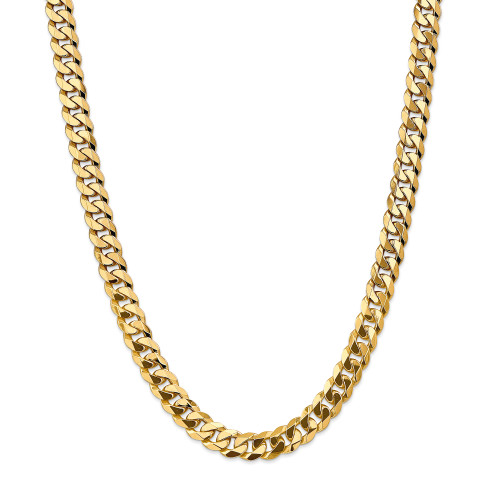 14K 9.5mm Flat Beveled Curb Chain: 85.06gm, 22in long, 9.5mm wide