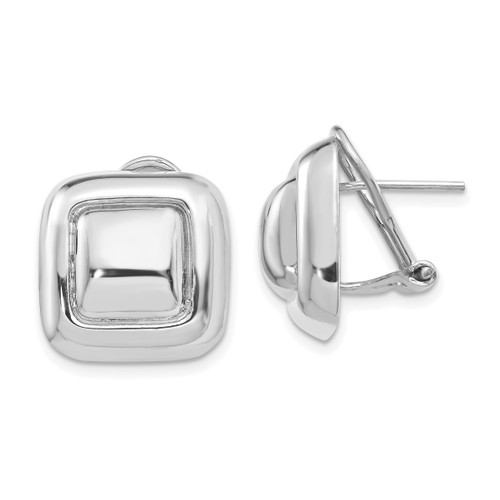 14K White Gold Polished Square Button Omega Back Post Earrings: 5.63gm, 17mm long, 16mm wide