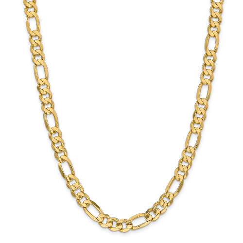 14K 8.75mm Concave Open Figaro Chain: 49.36gm, 22in long, 8.75mm wide