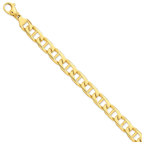 14K 10.3mm Hand-polished Anchor Link Chain: 39.61gm, 8in long, 10.3mm wide