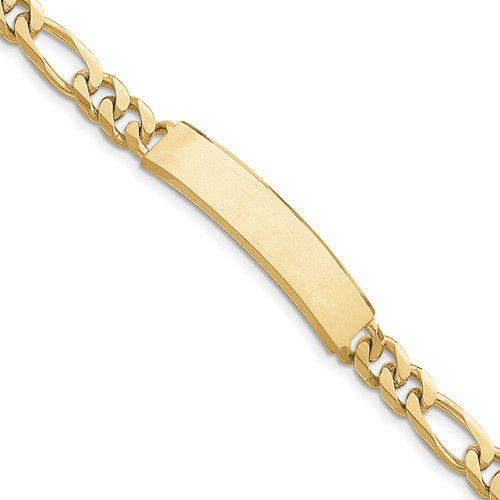14K Hand-polished Figaro ID Bracelet: 31.73gm, 8in long, 9mm wide