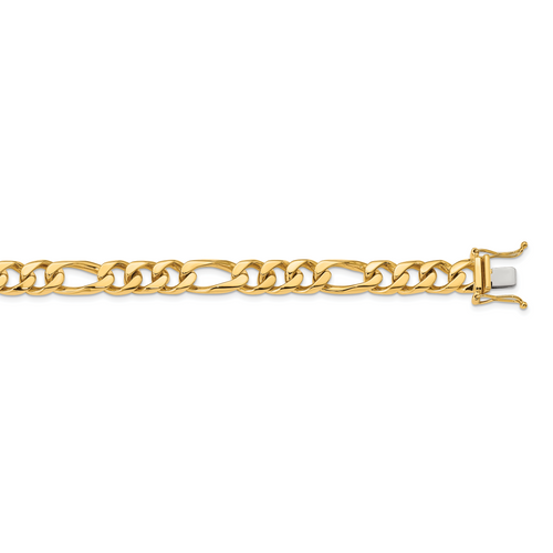 14K 9mm Hand-polished Figaro Link Chain: 130.42gm, 24in long, 9mm wide