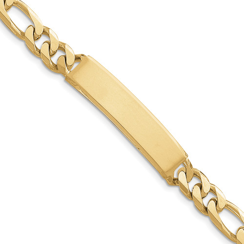 14K Figaro ID Bracelet: 44.27gm, 8in long, 12mm wide