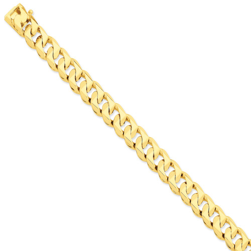 14K 11mm Hand-Polished Traditional Link Chain: 198.89gm, 24in long, 11mm wide